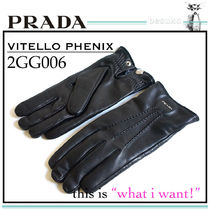 PRADA Unisex Plain Leather Leather & Faux Leather Gloves
