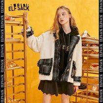 ELF SACK Stand Collar Coats Tartan Tweed Blended Fabrics Street Style