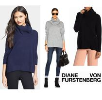 DIANE von FURSTENBERG Casual Style Wool Cashmere Dolman Sleeves Long Sleeves Plain