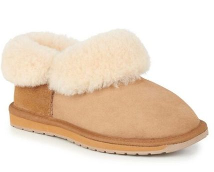 Round Toe Rubber Sole Casual Style Unisex Sheepskin Plain