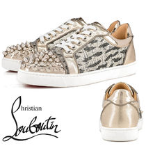 Christian Louboutin Leopard Patterns Plain Toe Rubber Sole Casual Style Studded