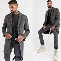 TOPMAN Other Check Patterns Wool Chester Coats