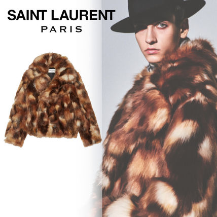 Saint Laurent Short Leopard Patterns Unisex Faux Fur Blended Fabrics