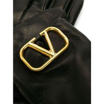 VALENTINO VRING Plain Leather Logo Leather & Faux Leather Gloves