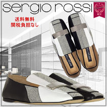 Sergio Rossi Square Toe Rubber Sole Studded Leather Elegant Style Flats