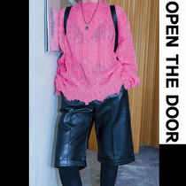 OPEN THE DOOR Faux Fur Street Style Plain Oversized Shorts