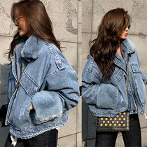 Denim Faux Fur Plain Medium Denim Jackets Oversized Jackets