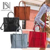 DANIELLE NICOLE Casual Style 2WAY Plain Leather Totes