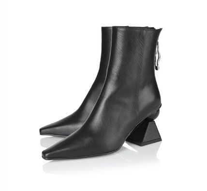 Leather Block Heels Elegant Style Ankle & Booties Boots