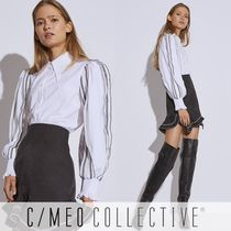 Cameo the Label Casual Style Puffed Sleeves Bi-color Long Sleeves Plain