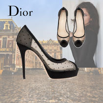 Christian Dior Open Toe Suede Leather Party Style Elegant Style
