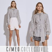 Cameo the Label Gingham Casual Style Puffed Sleeves Bi-color Long Sleeves