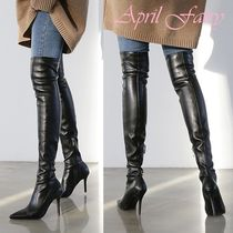 Faux Fur Pin Heels Over-the-Knee Boots
