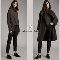 Massimo Dutti Casual Style Plain Leather Long Office Style