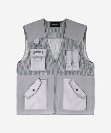 Unisex Street Style Plain Oversized Logo Fly-Fishing Vest