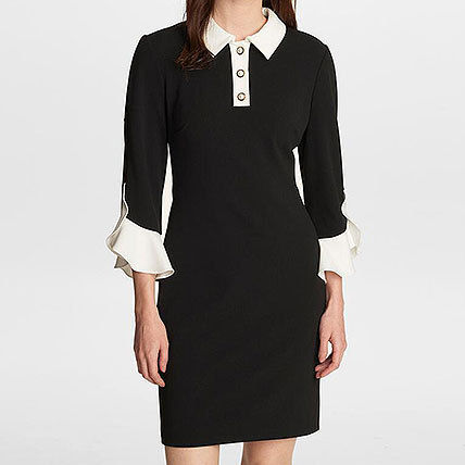 Short Tight Bi-color Cropped Plain Office Style