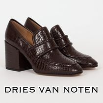 Dries Van Noten Leather Python Elegant Style Chunky Heels