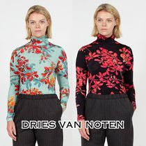 Dries Van Noten Short Flower Patterns Long Sleeves Turtlenecks