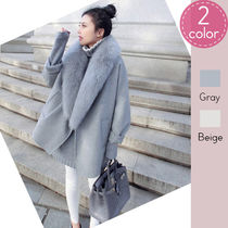Casual Style Street Style Plain Oversized Chester Coats