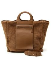 Diffusione Tessile Fur Blended Fabrics 2WAY Plain Leather Elegant Style Bags