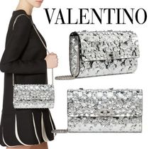 VALENTINO Flower Patterns Studded Party Style Elegant Style