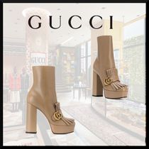 GUCCI Casual Style Plain Leather Block Heels Office Style