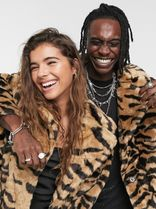 ASOS Unisex Faux Fur Street Style Other Animal Patterns Long