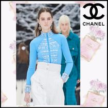 CHANEL Crew Neck Blended Fabrics Long Sleeves Medium With Jewels