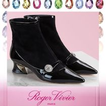 Roger Vivier Enamel Blended Fabrics Leather Block Heels With Jewels