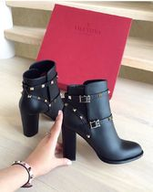 VALENTINO Plain Toe Casual Style Studded Plain Leather Block Heels