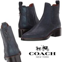 Coach Casual Style Plain Leather Block Heels Chelsea Boots