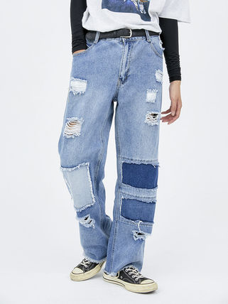 OPEN THE DOOR Unisex Street Style Plain Cotton Jeans