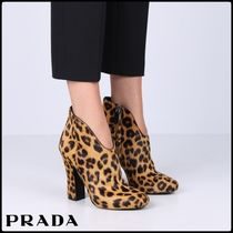 PRADA Leopard Patterns Round Toe Leather Block Heels Elegant Style
