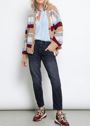 Short Stripes Casual Style Wool Long Sleeves Oversized