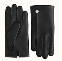 HERMES Blended Fabrics Leather Leather & Faux Leather Gloves