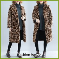 Leopard Patterns Casual Style Medium Elegant Style Peacoats