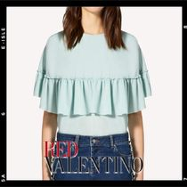 RED VALENTINO Plain Medium Short Sleeves Elegant Style Shirts & Blouses