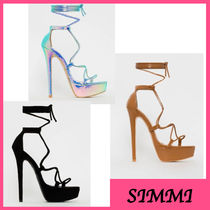 SIMMI Open Toe Platform Lace-up Elegant Style