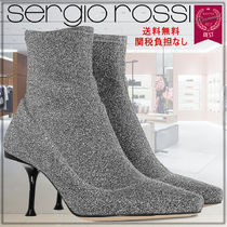 Sergio Rossi Rubber Sole Plain Leather Pin Heels Elegant Style
