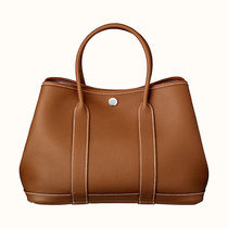 HERMES Garden Party Casual Style Unisex Calfskin Street Style A4 Plain Totes