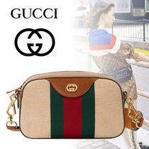 GUCCI Canvas 2WAY Plain Leather Elegant Style Shoulder Bags