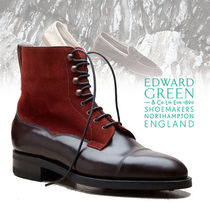 Edward Green Mountain Boots Suede Blended Fabrics Plain Leather U Tips