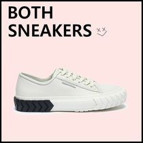 BOTH PARIS Round Toe Lace-up Unisex Leather Low-Top Sneakers