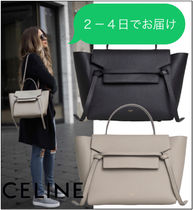 CELINE Belt Casual Style Calfskin Blended Fabrics A4 Plain Leather