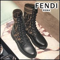 FENDI Casual Style Leather Mid Heel Boots