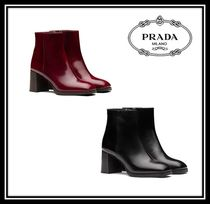 PRADA Square Toe Plain Leather Chunky Heels Ankle & Booties Boots