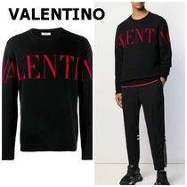 VALENTINO Crew Neck Pullovers Cashmere Long Sleeves Logo Luxury