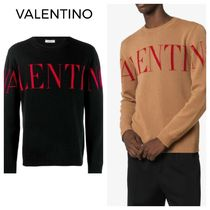 VALENTINO Crew Neck Pullovers Cashmere Long Sleeves Logo Sweaters