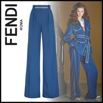 FENDI Wool Plain Long Elegant Style Wide Leg Pants