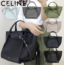 CELINE Big Bag Casual Style Calfskin Plain Leather Office Style